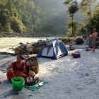 Welcome refreshments after on the banks of the Kali Gandaki after a day of river running, Oct 2013.