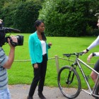 BBC Midlands Today reporter and film crew at Live the Adventure to interview James Griffiths for Tour of the Dragon, 1 day, extreme mountain bike challenge, Bhutan
