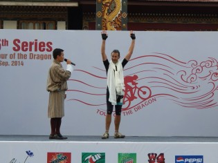 James Griffiths on the finishers podium.
