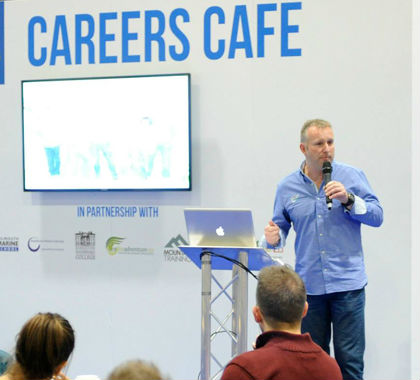 Anthony Eddies-Davies presenting on the Careers in the Outdoors Stage at the Telegraph Outdoors Show 2014