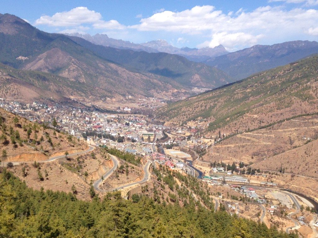 Buddha Dordenma looking down on the capital city of Thimphu. Houses over 100,000 Smaller Buddha statues. 169 ft tall (51.5m) 943 acres of natural part surrounds it on a hill top.